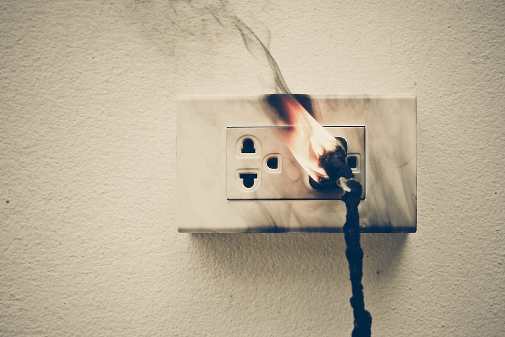 A fire being started from an electrical issue